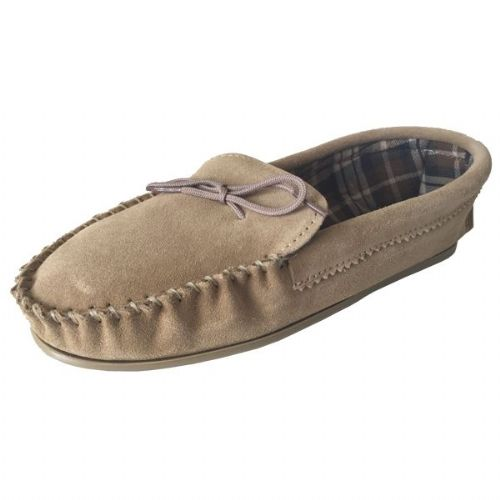 Beige (Tan) Size 11 Cotton Lined Moccasin Slippers
